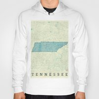 tennessee Hoodies featuring Tennessee State Map Blue Vintage by City Art Posters