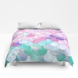 Mermaid Sweet Dreams, Pastel, Pink, Purple, Teal Comforters