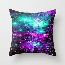 Fox Fur Nebula Teal Pink Purple Throw Pillow