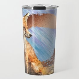Fox Art With Gold And Copper Travel Mug