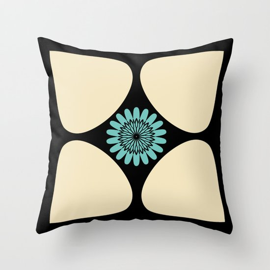 Cream Tear Drop Turquoise Flower Graphic Pattern Throw Pillow