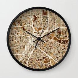 Houston Texas City Street Map Wall Clock