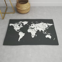 Marble World Map in Black and White Rug