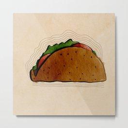 Taco Watercolor Metal Print