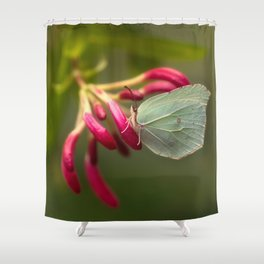 Green butterfly on pink flowers Shower Curtain