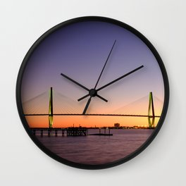 Arthur Ravenel Jr. Bridge in Charleston, South Carolina USA during sunset. Wall Clock