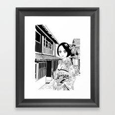 Kimono girl (manga style drawing) Framed Art Print