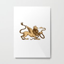Griiffin Snake Side View Woodcut Metal Print