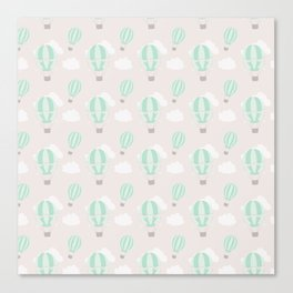 Hand painted mauve pink green white hot air balloons pattern Canvas Print
