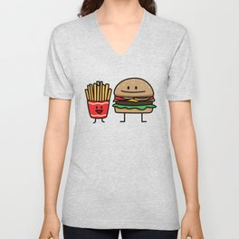 Happy Cheeseburger and French Fries Unisex V-Neck