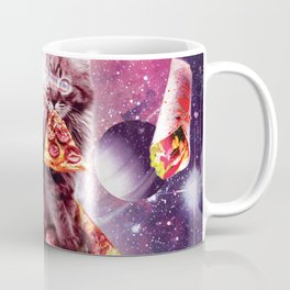 Outer Space Pizza Cat - Rainbow Laser, Taco, Burrito Coffee Mug