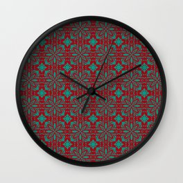 Christmas Red and Green Pattern Wall Clock