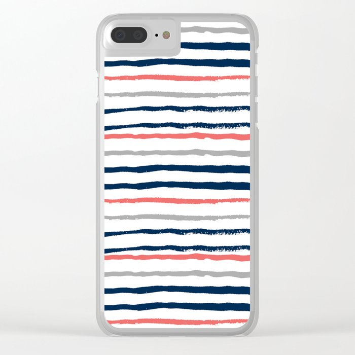 Minimal stripes painted stripe pattern navy modern trendy color palette nursery Clear iPhone Case