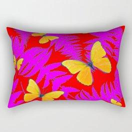 Modern RED Design  Fuchsia Fern Fronds With Yellow Butterflies Rectangular Pillow