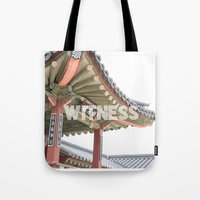 korea Tote Bags featuring Witness Korea  by Art and Parchment