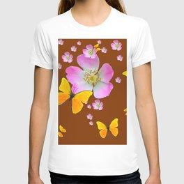 COFFEE BROWN YELLOW BUTTERFLIES & PINK WILD ROSES T-shirt