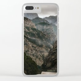 Foggy mountains over Neretva gorge Clear iPhone Case