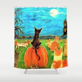 Seven Cats in Pumpkin Patch Shower Curtain
