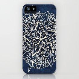 Cream and navy mandala on indigo ink iPhone Case