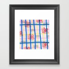 Naval Gingham Framed Art Print