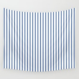 Delphinium Blue Pinstripe on White Wall Tapestry