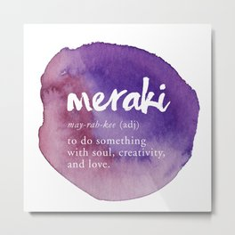 Meraki Word Nerd Definition - Purple Watercolor Metal Print