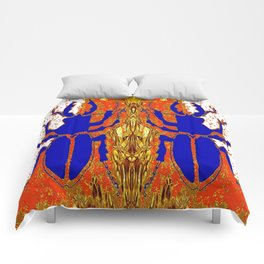 Lapis Blue Beetle on Gold Comforters