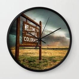 Colorful Colorado - Storm Advances Past Colorado State Line Sign Wall Clock