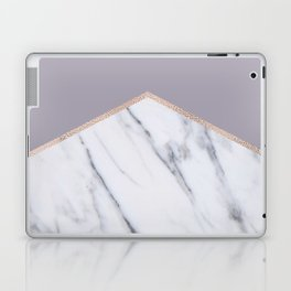 Smokey lilac - rose gold geometric marble Laptop & iPad Skin