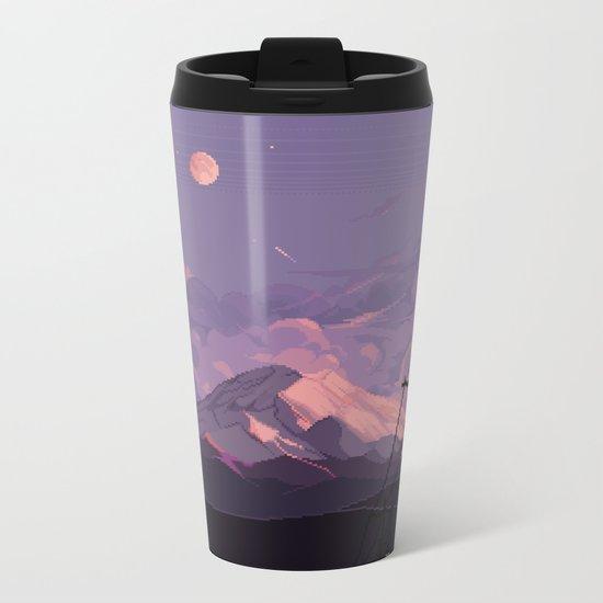 Mt Rainier with Powerlines Metal Travel Mug