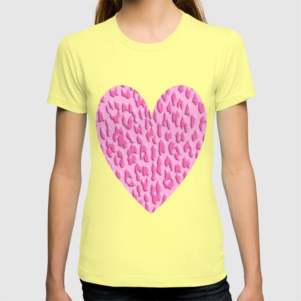 3564a3b19a92 Bright Pink Leopard Print T-shirt by serigraphonart | Society6