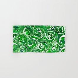 Emerald Green, Green Apple, and White Paint Swirls Hand & Bath Towel