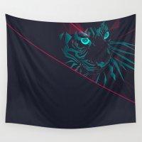 zodiac Wall Tapestries featuring Zodiac Tiger by Schwebewesen • Romina Lutz