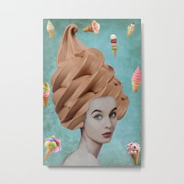 Cone Lady Collage Metal Print