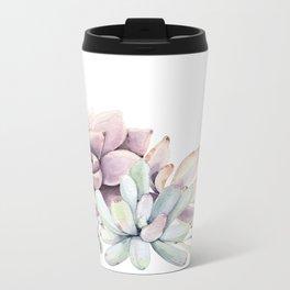 Desert Succulents on White Metal Travel Mug