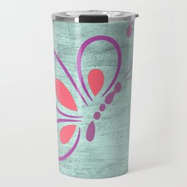Rustic Butterfly Art on Wall, Faux Metal Travel Mug