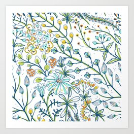 Light Blue and Bright White Ditsy Flower Spring Bloom Art Print