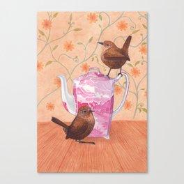 wrens on teapot Canvas Print