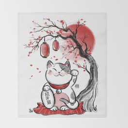 Japanese Neko Throw Blanket