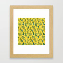 Yellow and Blue Chinoiserie Framed Art Print