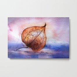 Watercolor Physalis in Light Metal Print