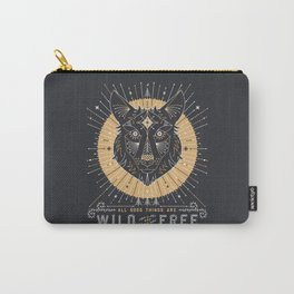 Wild & Free Wolf – Gold & Grey Carry-All Pouch