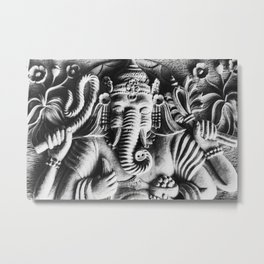 Indian Hindu Ganesh Relief Metal Print