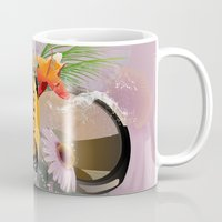 surfboard Mugs featuring Surfing, sunglasses with surfboard  by nicky2342