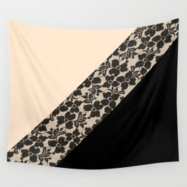 Elegant Peach Ivory Black Floral Lace Color Block Wall Tapestry