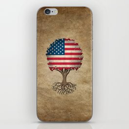 Vintage Tree of Life with Flag of The United States iPhone Skin