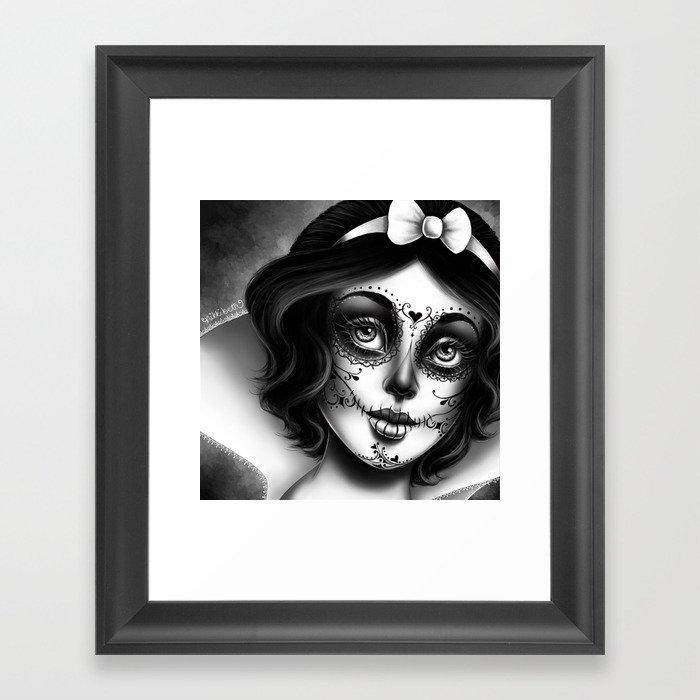 Snow White Sugar Skull Framed Art Print By Nikkibeth Society6