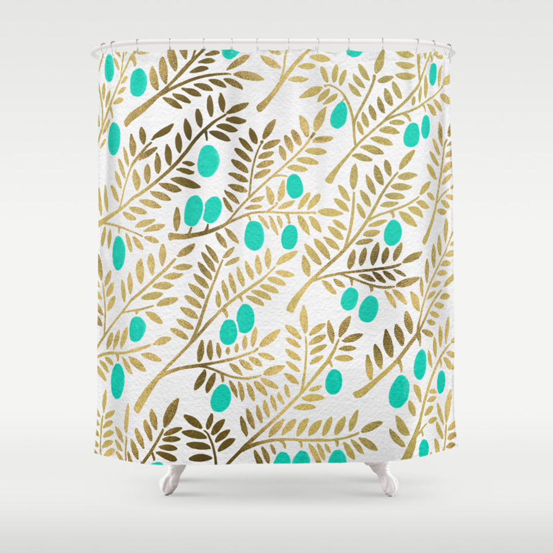 Blue and Olive Shower Curtains | Society6