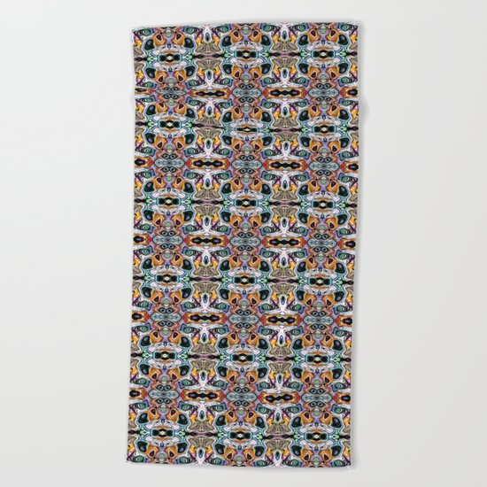 Abstract Pattern of Colorful Shapes Beach Towel