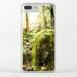 Mossy Boulder, Oregon, trail Clear iPhone Case